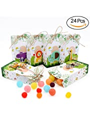 AerWo 24pcs of Zoo Theme Baby Shower Favor Boxes Candy Treat Box with Ropes for Children's Birthday Decoration and Safari Party Decorations