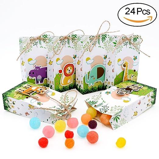 AerWo - Juego de 24 Cajas de Regalo para Baby Shower, diseño de Zoo, con Cuerdas para decoración de cumpleaños Infantil y Fiestas de Safari