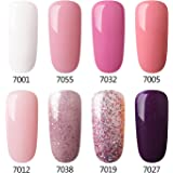 Gel Nail Polish Set Pink Glitter Colors Azure Beauty Soak Off UV LED Gel Polish Kit