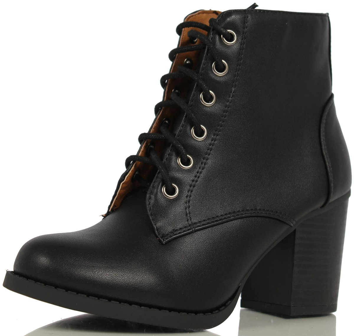 Soda Women's Korman Faux Leather Lace Up High Chunky Heel Ankle Booties, Black, 10 M US