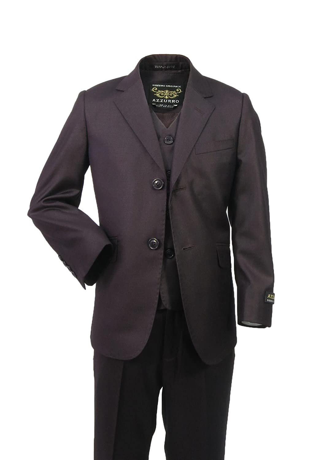 Azzurro Boys Formal 3-Piece Solid Suit with Stitching - Slim Fit 9843