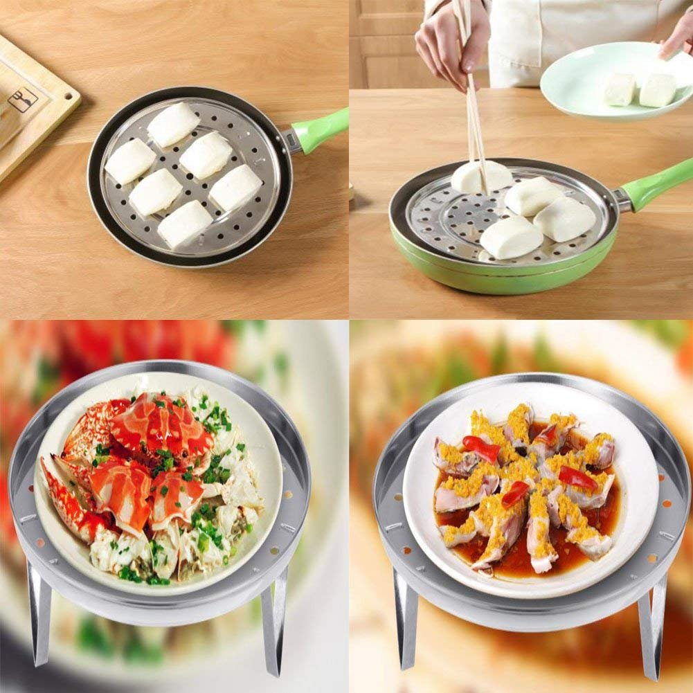 Stainless Steel Steam Basket Rack and Cooling Rack Cooking Round Pressure Cooker Food Steamer with Detachable Legs Insert Pot for Cooking,Toast,Bread,Salad,Baking (L) by YOEDAF (Image #4)