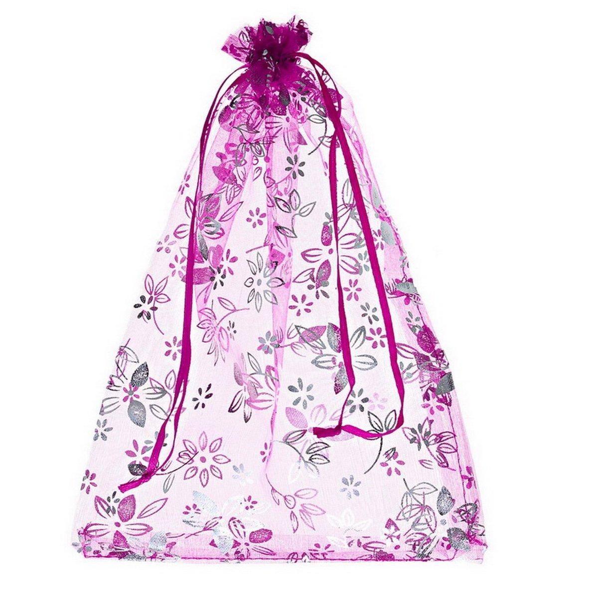 HOUSWEETY Säckli Organzasäckchen Schmuckbeutel Geschenkbeutel Rosa, 17cm x25cm (18cm x25cm) HOUSWEETYB81703