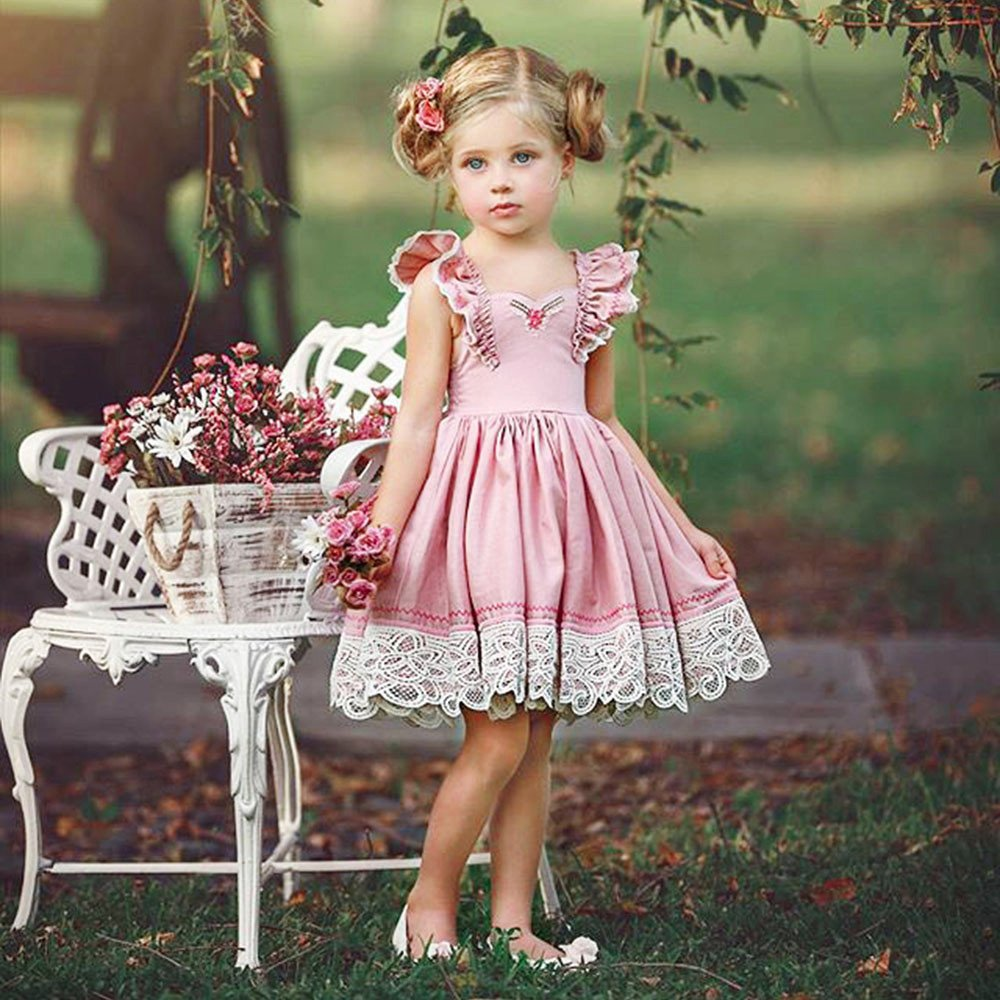 Gufenban Baby Girl Pageant Flower Girl Dress Kids Fancy Wedding Bridesmaid Gown Formal Mini Princess Dresses (Pink, 5 Years) by Gufenban (Image #2)