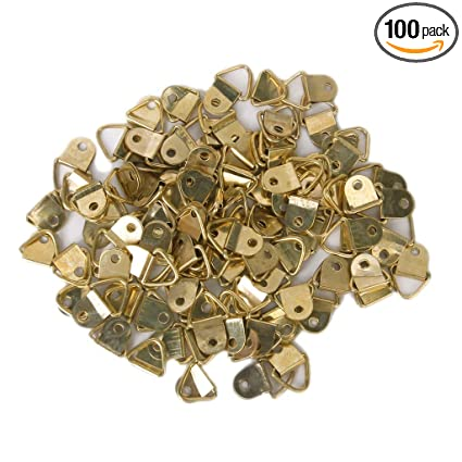 100pcs Small Triangle D Ring Picture Frame Hangers Single Hole With