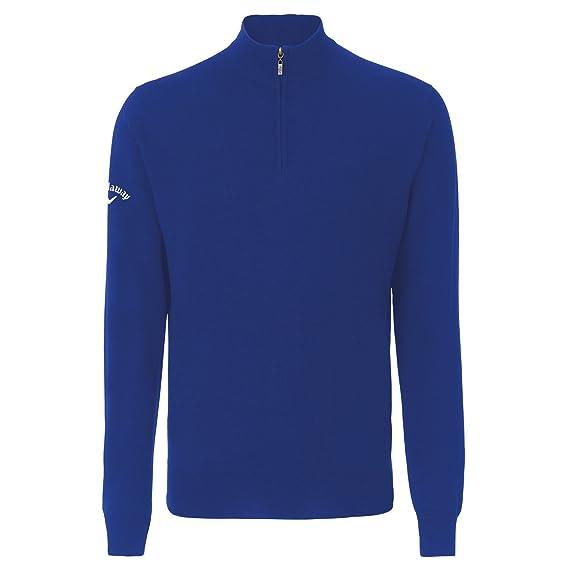Callaway Mens Merino Wool 14 Zip Sweater Top M Magnetic Blue