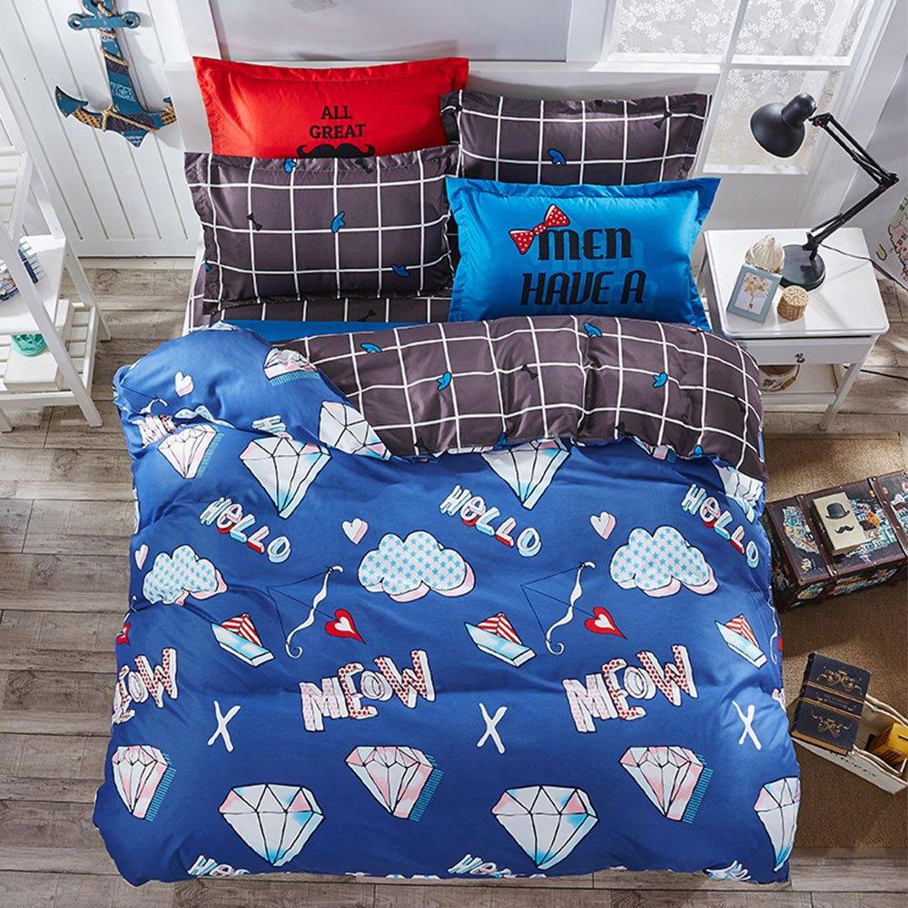 Beauty Decor Kids Duvet Cover Set Cartoon Crown Stripes Bedding Sets Lightweight Microfiber Comforter Cover with Pillow Shams, Full CXC0411Beauty-KF-LSZ4-1135-2