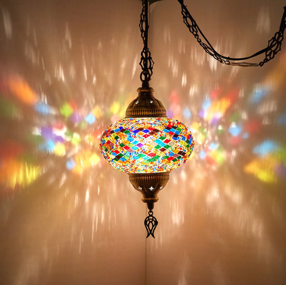 (8 Colors) DEMMEX Turkish Moroccan Mosaic Swag Plug in Pendant Ceiling Hanging Light with 15feet Cord Decorated Chain & North American Plug (Multicolor - 6'' Diameter)