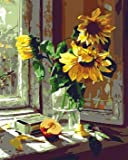"""DIY Paint by Numbers Kit for Adults - Vase of Sunflowers   Paint by Numbers Landscape Paintings Arts Craft for Home Wall Decor   Pre-Printed Art-Quality Canvas, 3 Brushes, 24 Acrylic Paints 20"""" x 16"""""""
