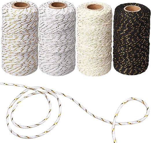 ZHIYE - Cuerda de Cordel (400 m, 4 Rollos de algodón de Color ...