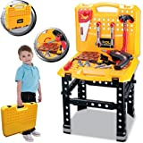 FunkyBuys® Deluxe Large 73 Piece Work Bench Tool Set Pretend Play Set (SI-TY1043) w/ Electronic Drill