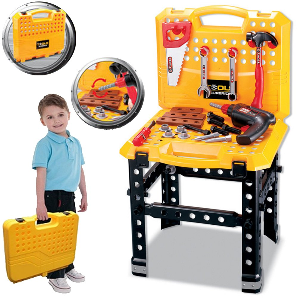 Large 73pc Childrens Tool Bench Set Work Shop Tools Kit Boys (SI-TY1043) Kids Play Workbench Toy DIY Portable Lado