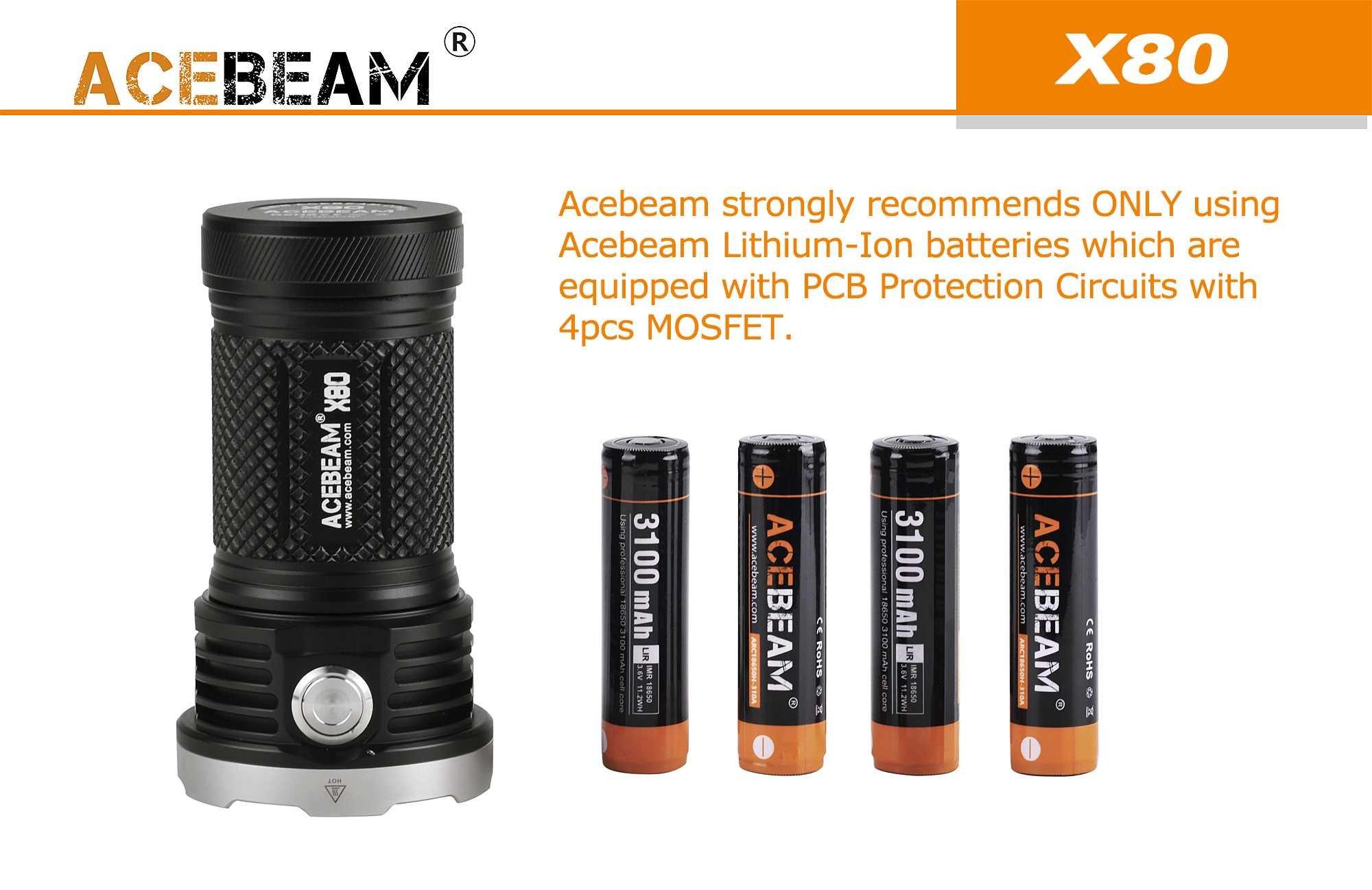 ACEBEAM X80 LED Flashlight 12x Cree XHP50.2 25000 Lumens 5-color Light Beam Flashlights Included 4 3100mah Batteries by Acebeam (Image #7)