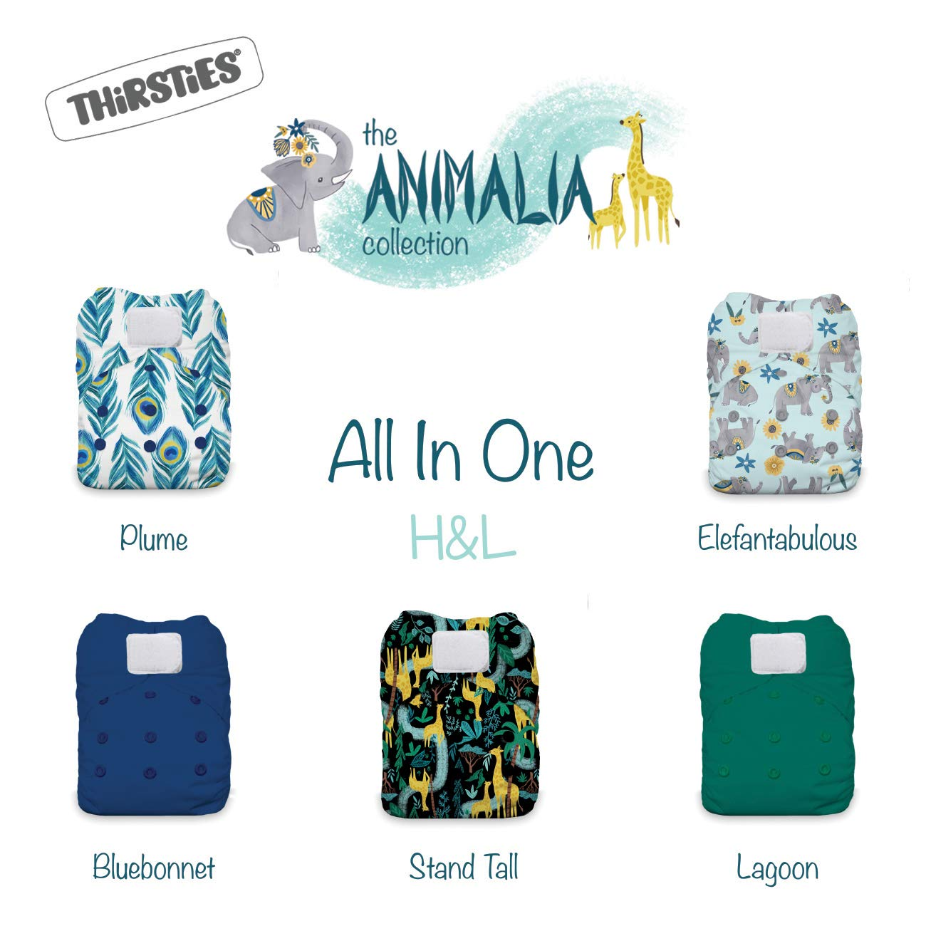 Thirsties Animalia Cloth Diaper Collection Package, One Size All in One Hook & Loop Cloth Diaper, Animalia