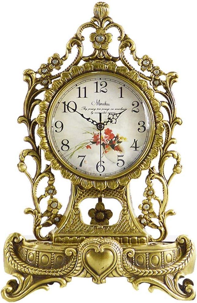 デスククロックファミリークロック銅、ノンチックサイレントマントルクロック寝室用リビングルーム時計リビングルームの寝室用オフィス