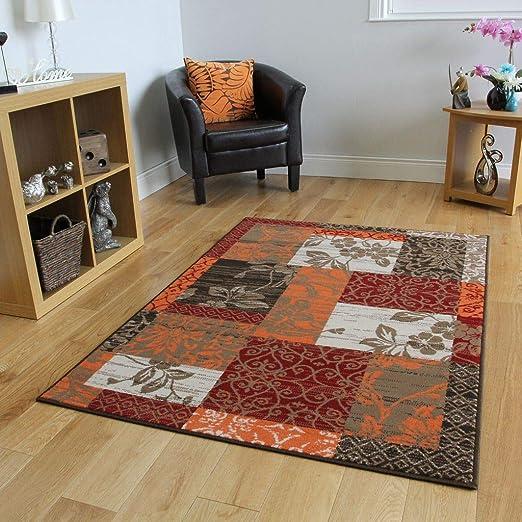 Milan Brown Red Orange Beige Cream Patchwork Rug 1568 S22 10 Sizes Amazon Co Uk Kitchen Home