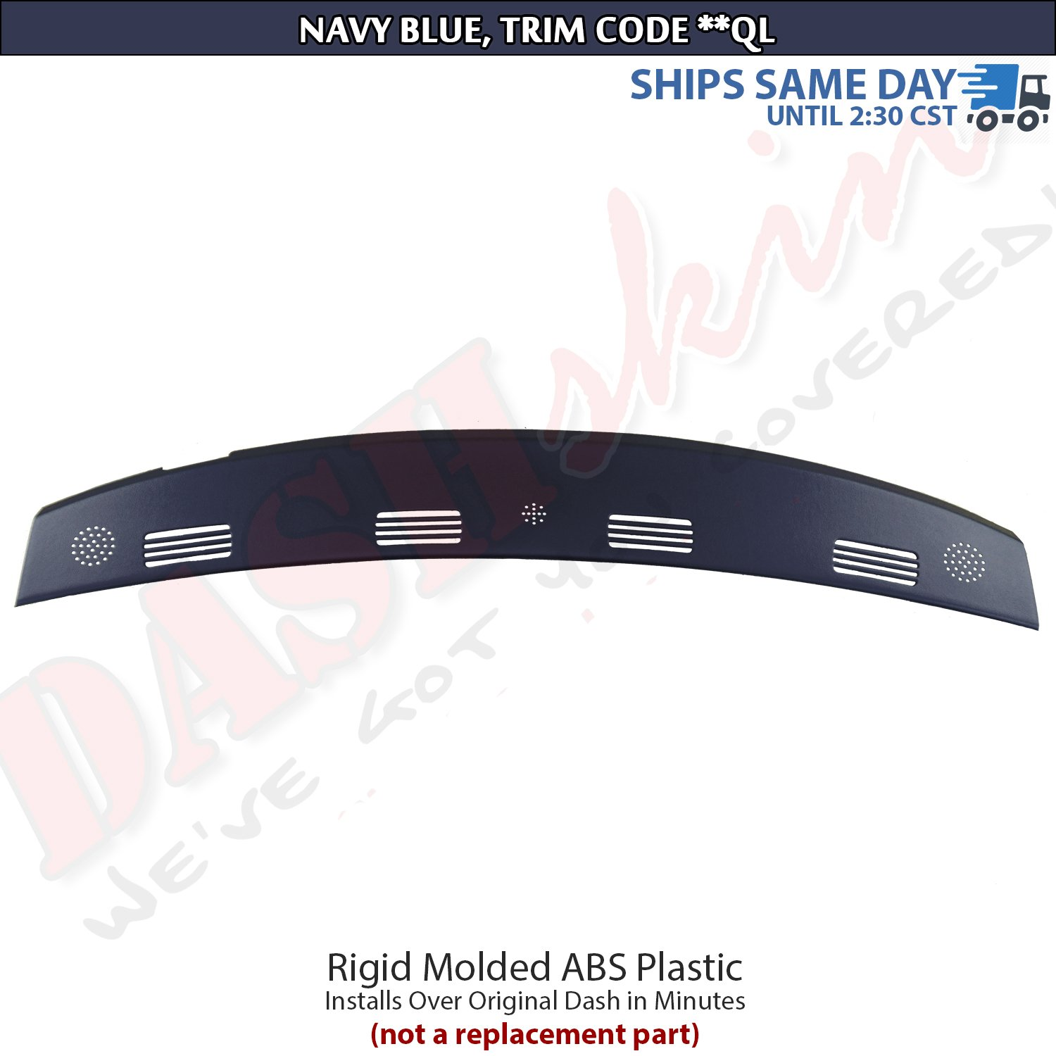 DashSkin Molded Defrost Dash Cover Compatible with 02-05 Dodge Ram in Navy Blue