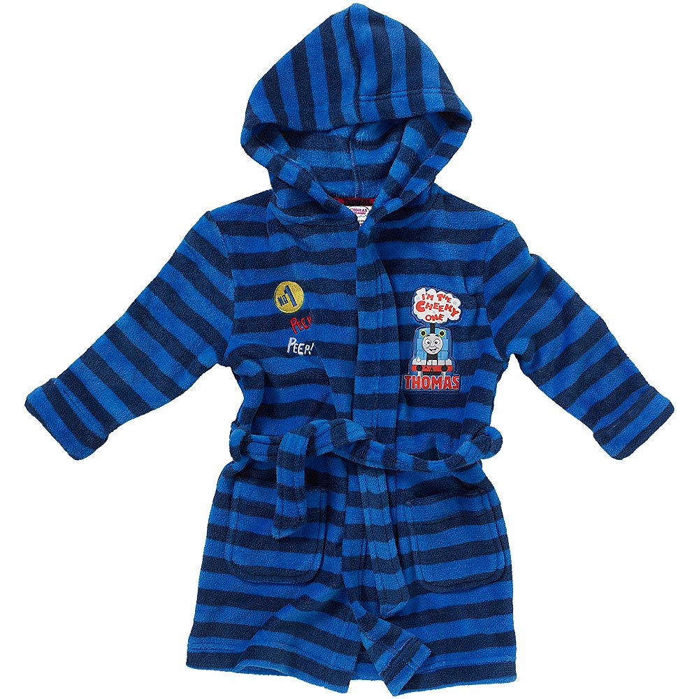 Thomas & Friends Boys I'm The Cheeky One Striped Hooded Fleece Dressing Gown Robe