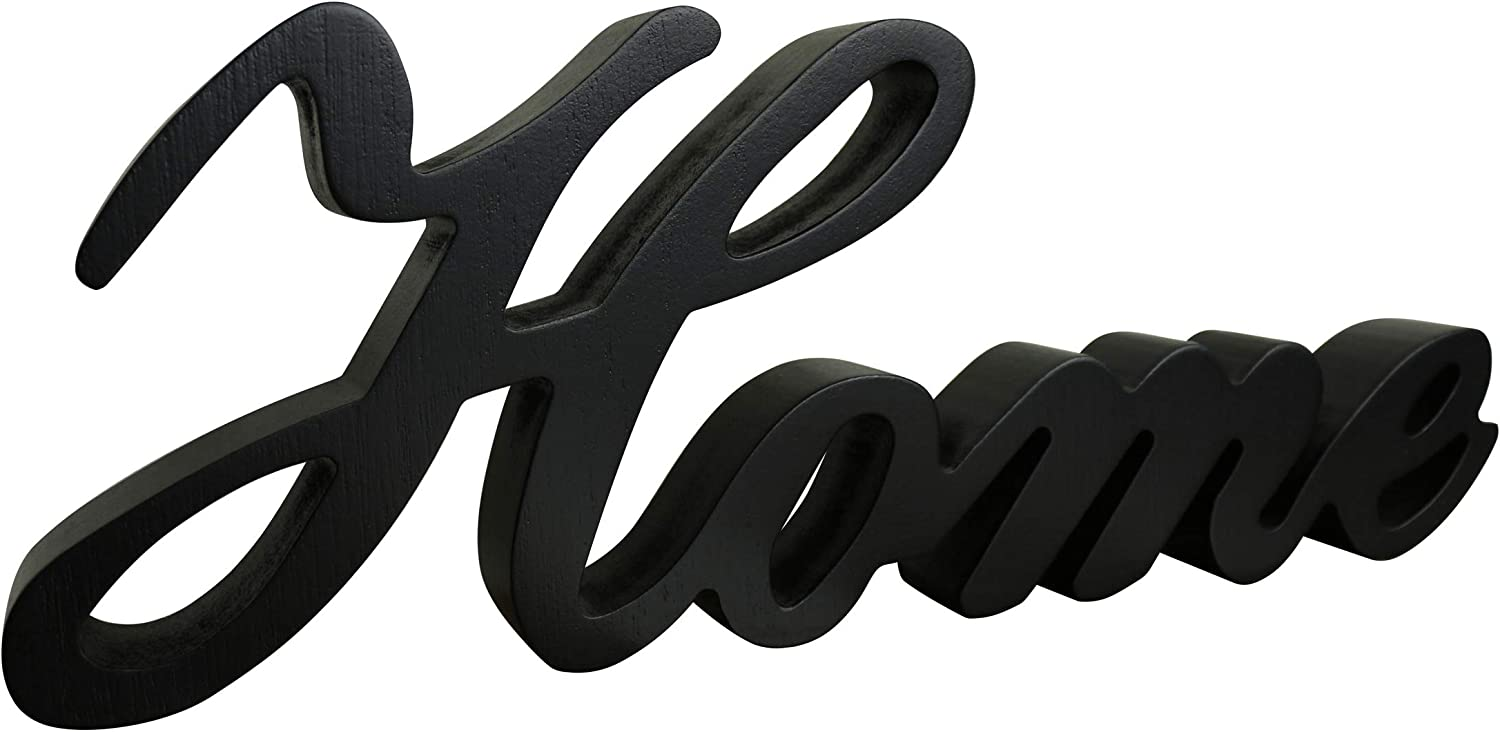 CVHOMEDECO. Matt Black Wooden Words Sign Free Standing Home Desk/Table/Shelf/Home Wall/Office Decoration Art, 11-3/4 x 4-1/4 x 1 Inch