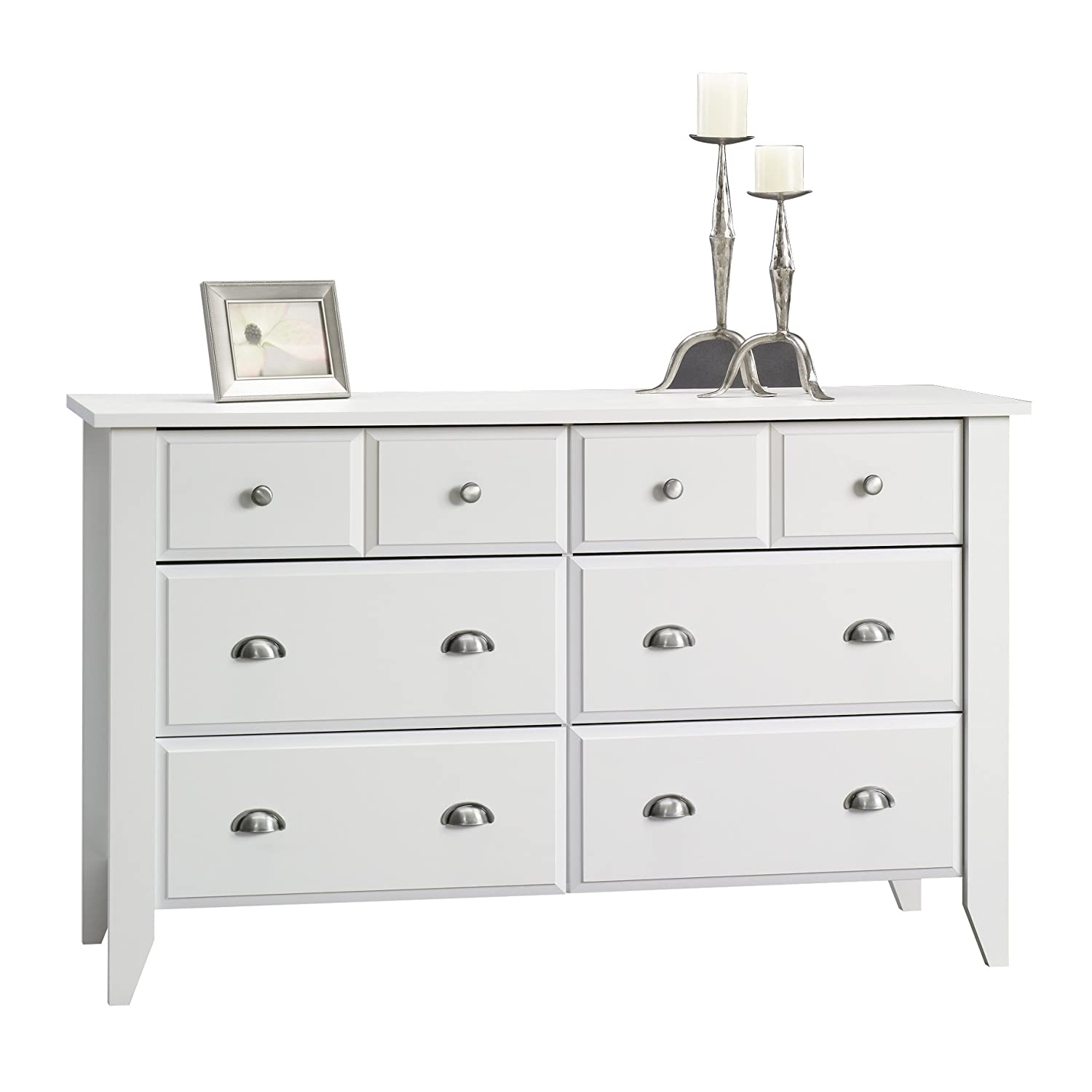 white dresser drawers low amazoncom sauder shoal creek dresser soft white finish kitchen dining