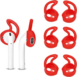TEEMADE 6 Pieces AirPods Ear Hooks,Apple Earpods Cover Tips,Silicone Covers for Apple Earphones Headphones(Red)