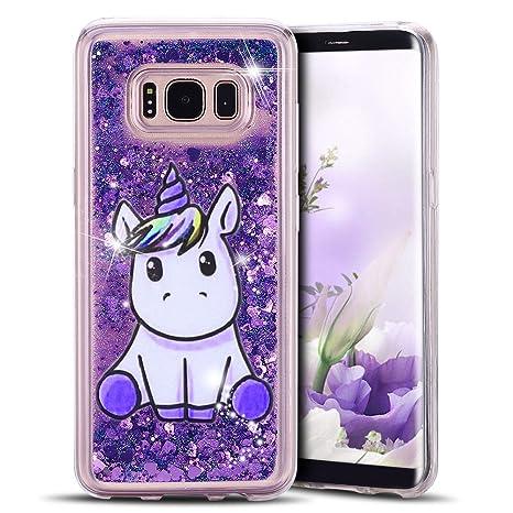 Yomiro Funda para Samsung S8 Plus TPU Transparente Carcasa para Samsung Galaxy S8 Plus Suave Silicona Quicksand Carcasas Bumper Cover Case Unicornio