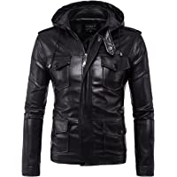 LANBAOSI Men's Front Zipper Faux Leather Stand Collar Jacket With Removable Hood