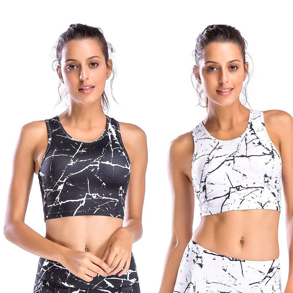 Move With You Womens Crop Tank Tops Workout Running High Neck Sports Bra with Built-in Bra by Move With You
