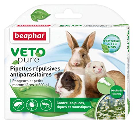 Beaphar - Pipetas repulsivas antiparasitarias roedores, 6x0,77 ml