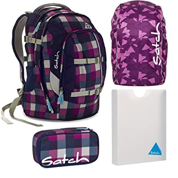dfa65bb0c8929 satch by Ergobag Rucksack 4tlg. Set Berry Carry Lila Blau Rucksack ...