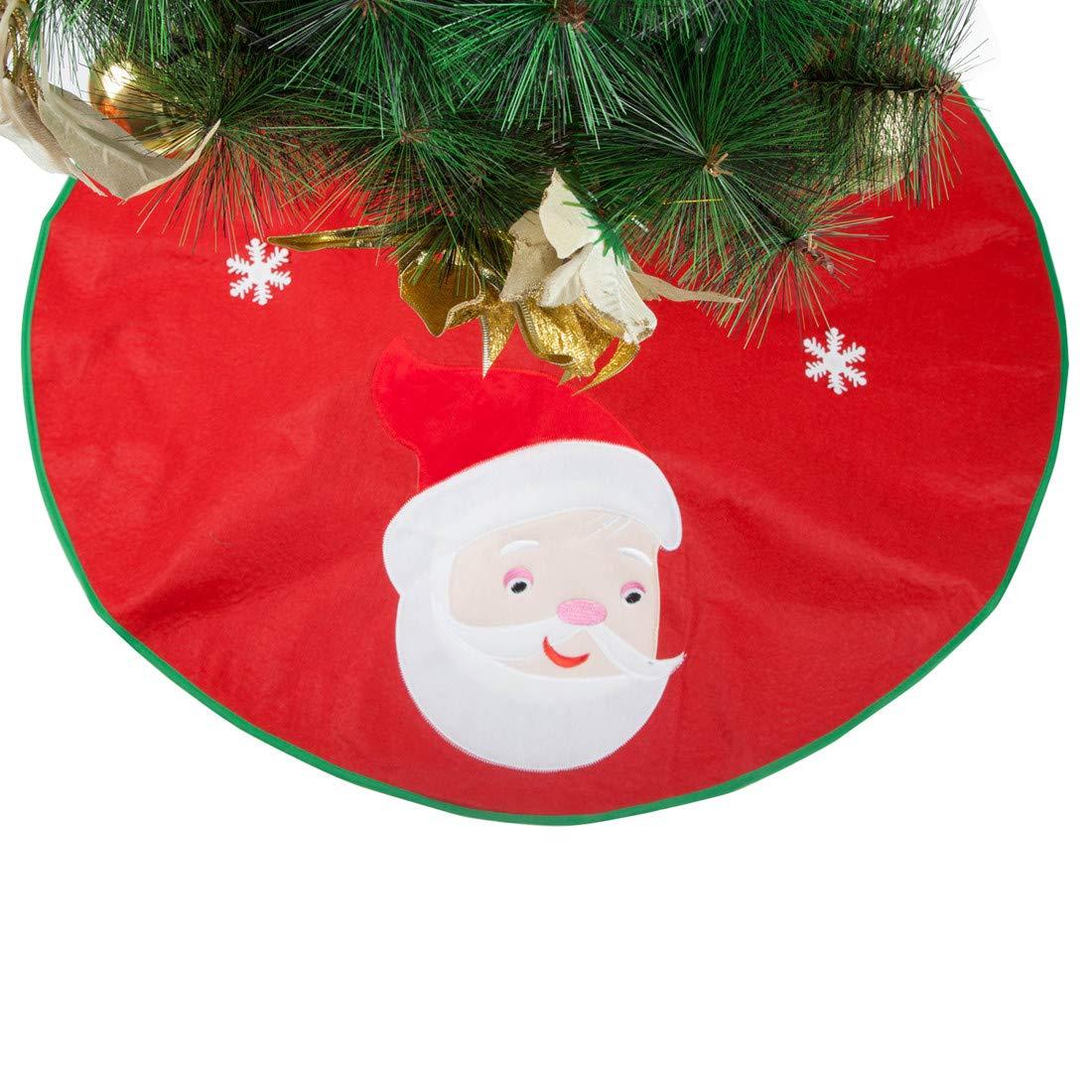 35 Inches Round Snowflake Santa Claus Tree Skirts for Xmas Christmas Party Holiday Decorations 2Pcs Christmas Tree Skirt