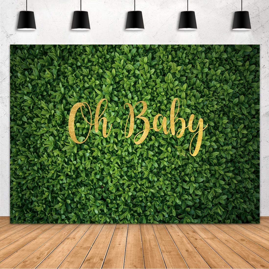 Aperturee Oh Baby Green Leaves Wall Backdrop 7x5FT Spring Nature Lawn Safari Outdoorsy Grass Photography Background Birthday Boy Girl Baby Shower Newborn Photo Booth Studio Props Party Decoration