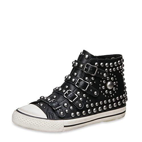 6717830a182 Ash VITO Buckle Trainers Black Leather   Silver Studs 41 Black.   Amazon.co.uk  Shoes   Bags