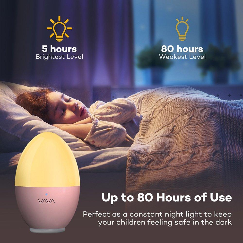 Night Lights for Kids VAVA Baby Night light with Free Stickers Eye Caring LED Nursery Lamp Renewed