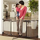 "Toddleroo by North States 72"" wide Deluxe Décor Baby Gate: Sturdy extra wide baby gate with one hand operation. Hardware Mount. Fits 38.3 - 72"" Wide. (30"" Tall, Matte Bronze)"