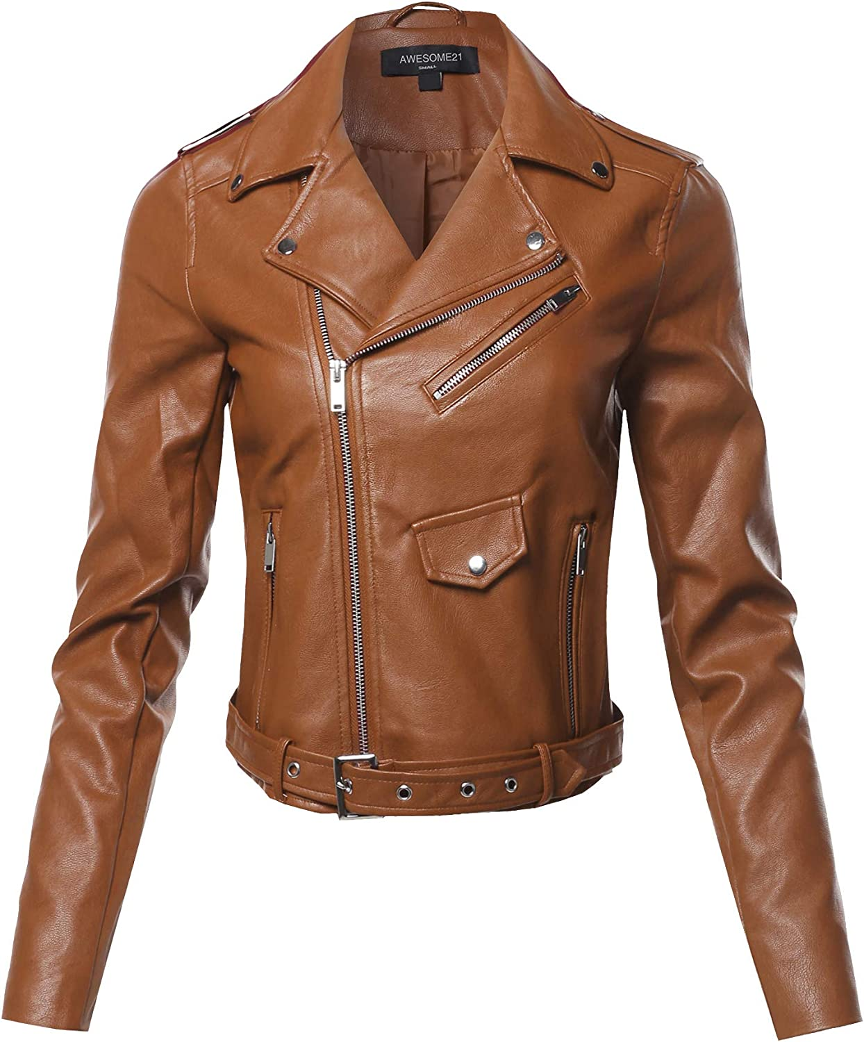 Womens Quilted Sleeve Classic Rider Style Faux Leather Jackets