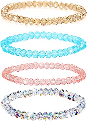 Shareky 4 Sets Beaded Bracelet Set Crystals Stretch Bracelet Swarovski  Sparkling Bracelet for Girls