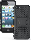 Heartly Flip Kick Stand Hard Dual Armor Hybrid Bumper Back Case Cover For Apple iPhone SE 5 5S 5G - Black