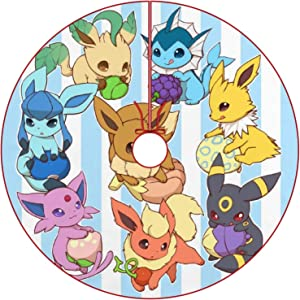 oobon Christmas Tree Skirt for Anime Fans,Eeveelution 1, Xmas Holiday Party Ornament Supplies Large Santa Tree Mat Decor for Gift and Decoration, 48 inches