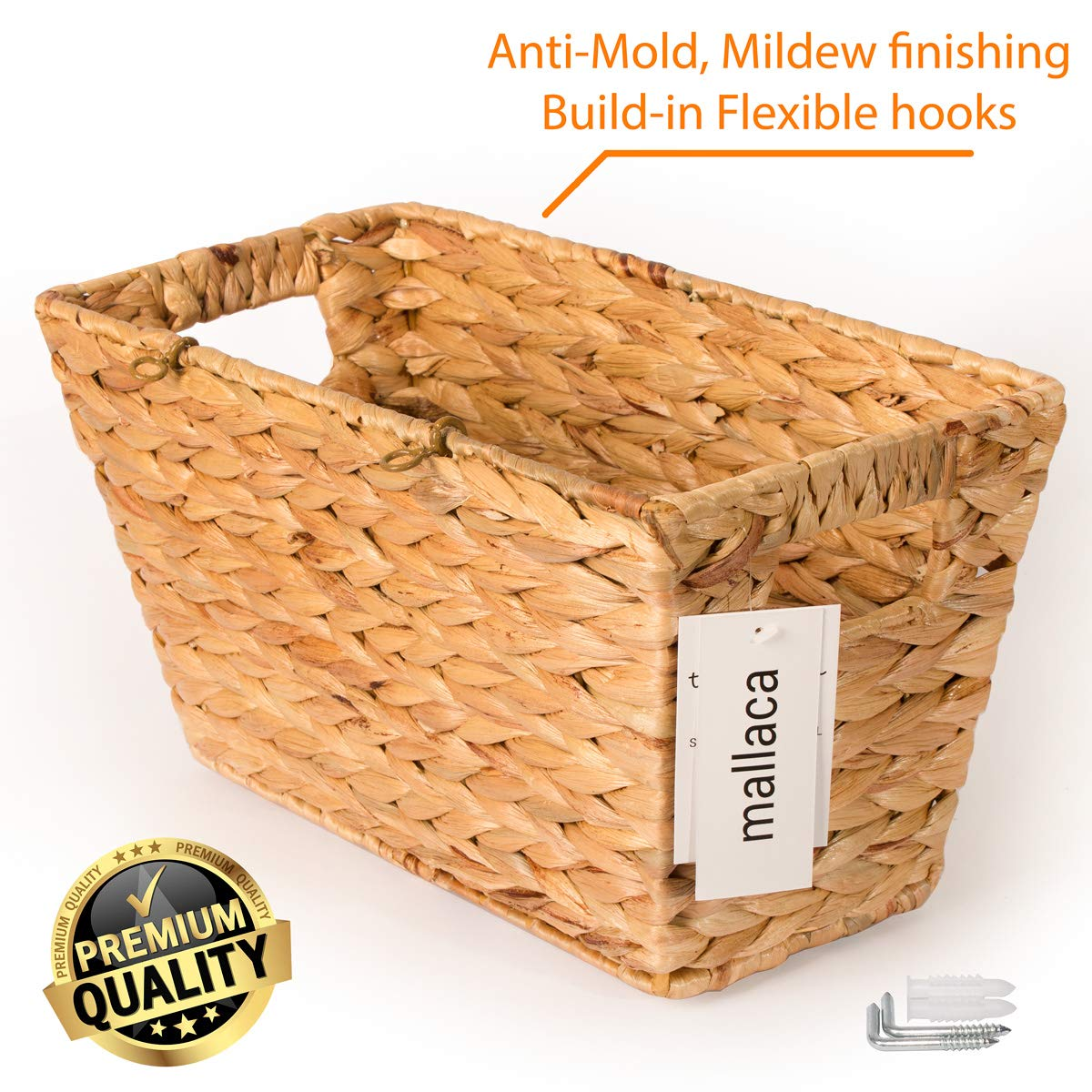 BEST CHOICE Magazine Basket Anti-Mold Mildew Stained Special Finishing Handmade of Nature Water Hyacinth, Book Toys CDs DVDs Storage 15''L x 8''W x 8.2''H by Mallaca