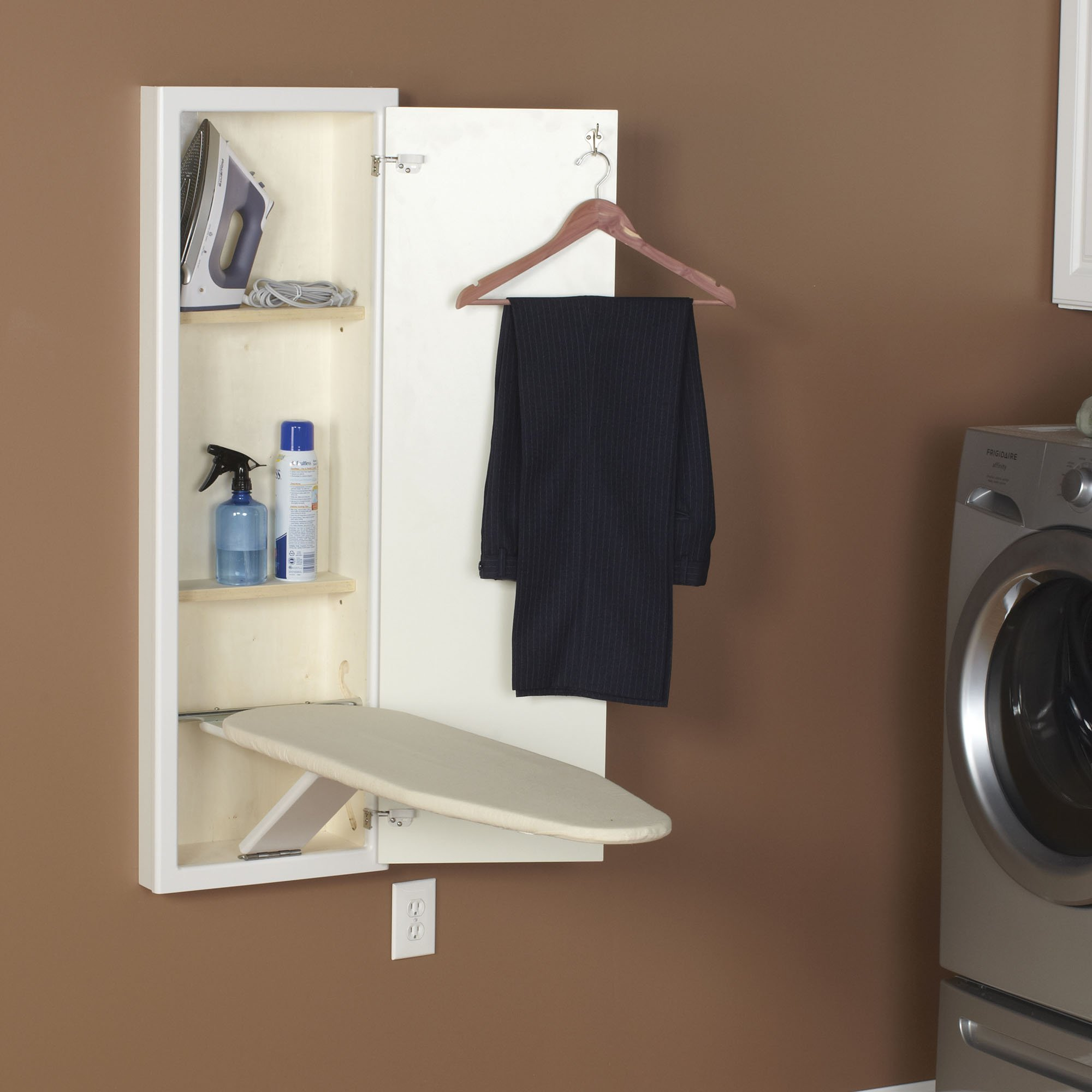 Household Essentials 18100-1 StowAway In-Wall Ironing Board Cabinet with Built In Ironing Board | White | Cut into Wall to Install by Household Essentials (Image #4)