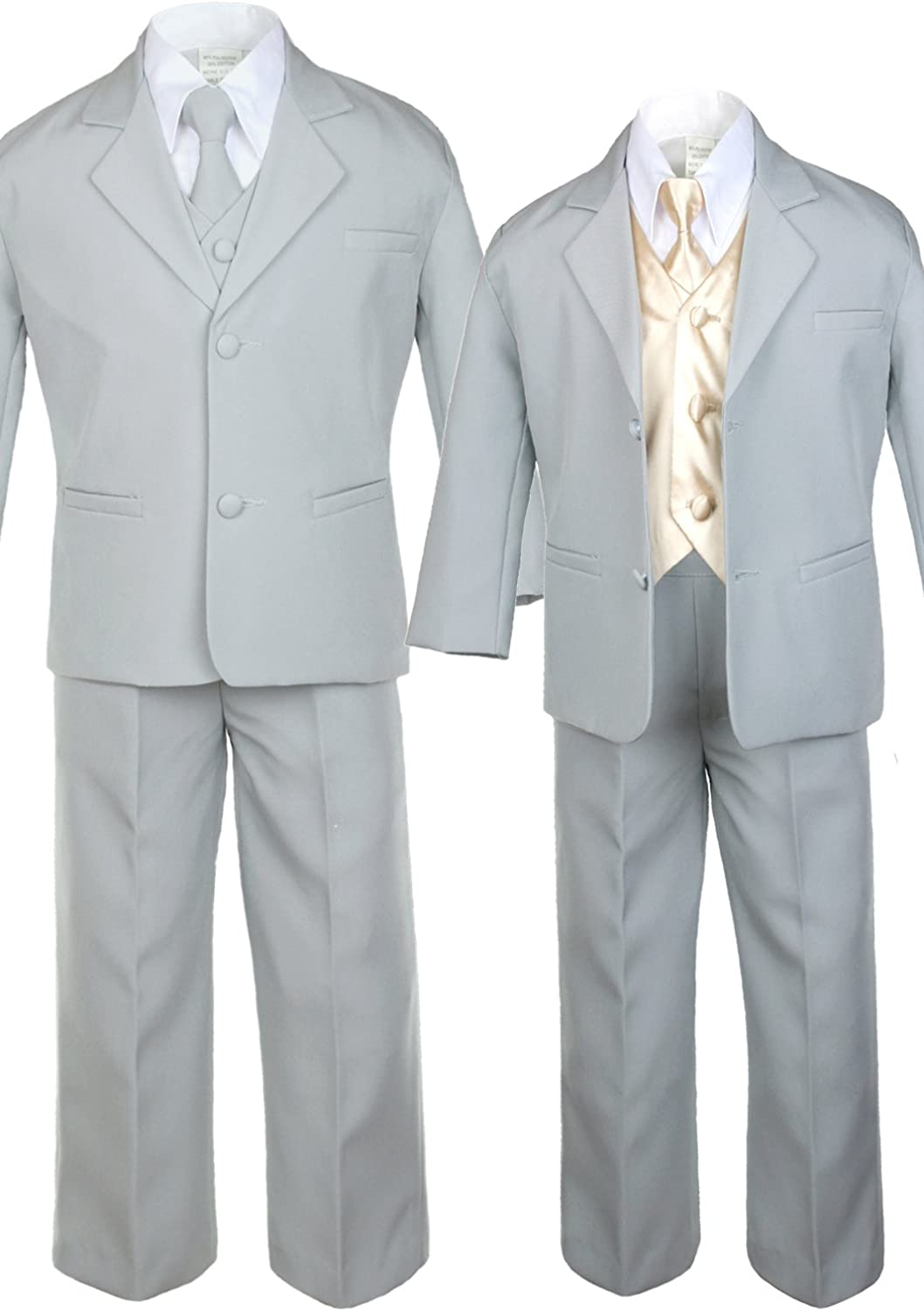 Unotux 7pc Boys Silver Suit with Satin White Vest Set from Baby to Teen