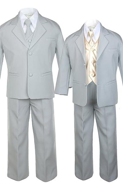 Unotux 7pc Boys Khaki Suit with Satin Purple Vest Set Necktie from Baby to Teen