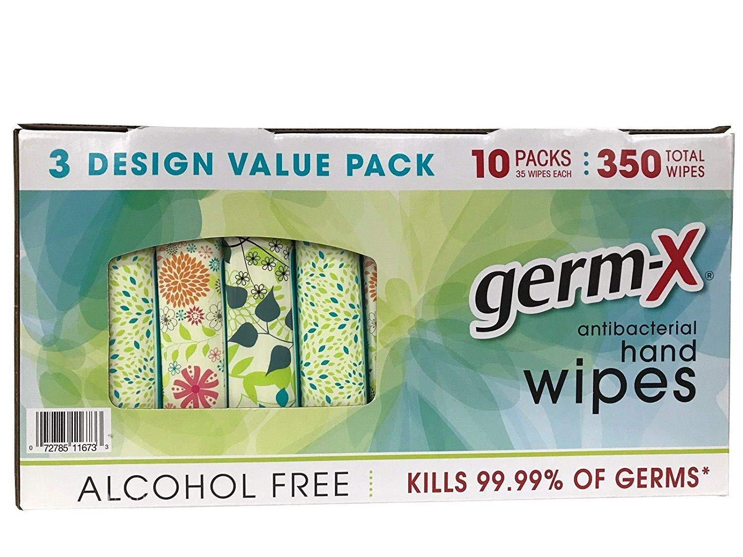 Germ-X Antibacterial Hand Wipes Designer Pack - 10 packs - 350 Total