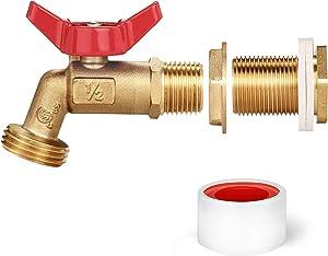 WADEO Rain Barrel Spigot, Brass Rain Barrel Quarter Turn Ball Valve Spigot with Bulkhead Fitting