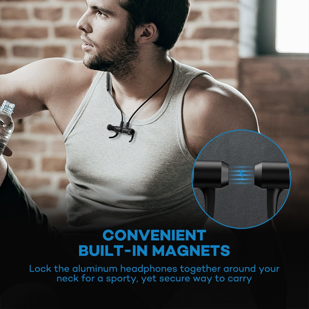 Bluetooth Headphones, VAVA MOOV 28 Wireless Headphones Sports Earphones in Ear Earbuds with 9 Hours Playtime (IPX6 Splashproof, aptX Stereo, Magnetic Aluminum Design, cVc 6.0 Noise Cancelling Mic) by VAVA (Image #6)