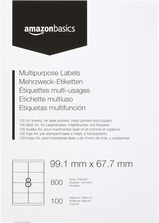 Amazon basics - etichette multiuso, 99.1mm x 67.7mm, 100 fogli, 8 etichette per foglio, 800 etichette