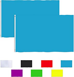 Consummate Solid Blue Flag 3x5 Foot Plain Blue Flags Banner Polyester with Brass Grommets,2 Pack