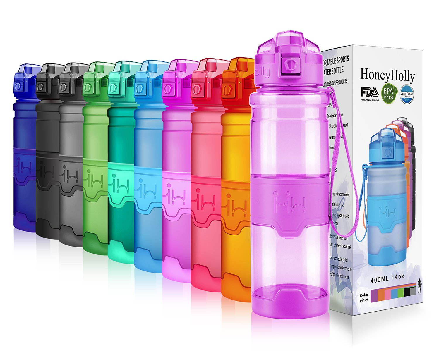 HoneyHolly Portable Sports Water Bottle - Leak Proof Reusable Container, One Click Flip Cap, For Outdoor/Camping/Running/Gym/Kids, Non Toxic, BPA-Free Tritan Plastic (17oz-500ml, Purple)