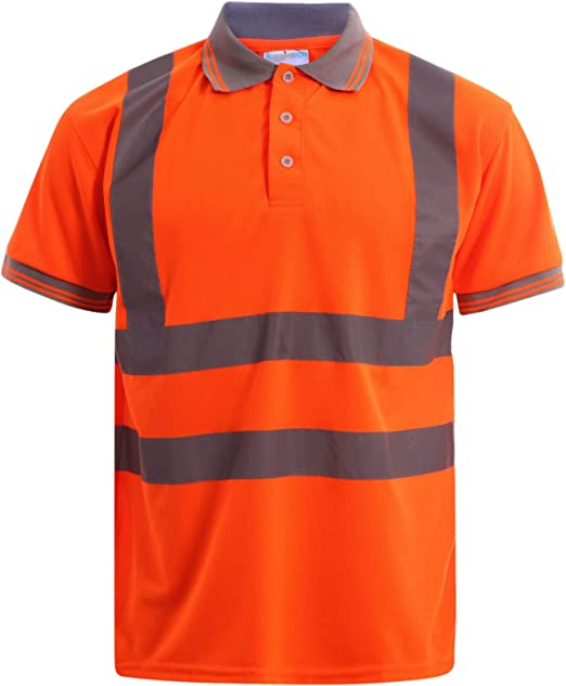 MyShoeStore Hi Viz Vis High Visibility Polo Shirt Reflective Tape Safety Security Work Button T-Shirt Breathable Lightweight Double Tape Workwear Top S-7XL